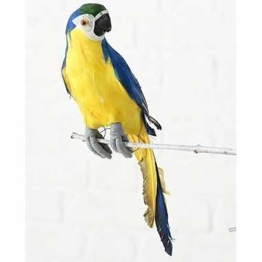 Blauwe decoratie ara papegaaien dierenbeelden beeldje kopen