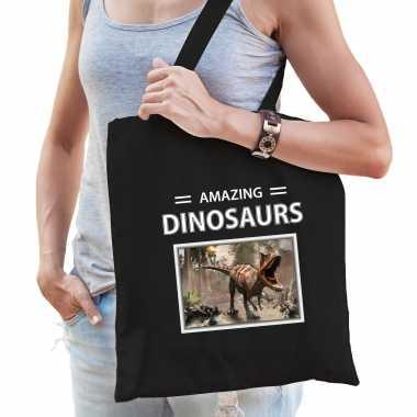 Carnotaurus dinosaurus tasje zwart volwassenen kinderen amazing dinosaurs kado boodschappen tas beeldje kopen
