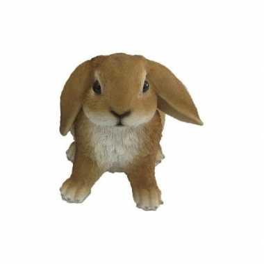 Decoratie beeld bruine hangoor konijn beeldje kopen