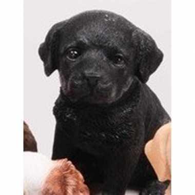 Decoratie beeld labrador puppy honden zwart beeldje kopen