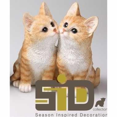 Decoratie beeld rode katjes/poesjes beeldje kopen