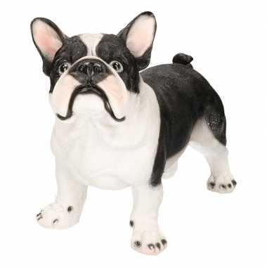 Decoratie beeld staande franse bulldog honden zwart/wit beeldje kopen
