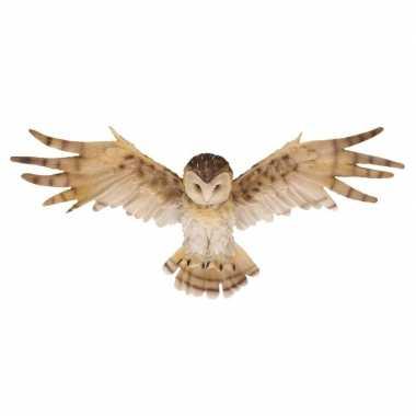 Decoratie beeld wandhanger kerkuilen vogel bruin/wit beeldje kopen