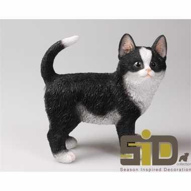 Decoratie beeld zwart/witte kat/poes staand beeldje kopen