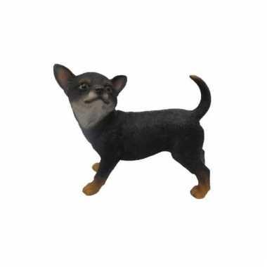 Decoratie beeld zwarte chihuahua beeldje kopen