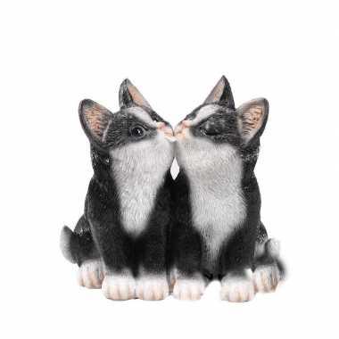 Decoratie beeld zwarte katjes/poesjes beeldje kopen