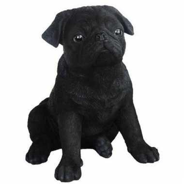 Decoratie beeldje mopshond zwart kopen