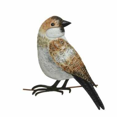 Decoratie vogel/muurvogel mus tuin beeldje kopen
