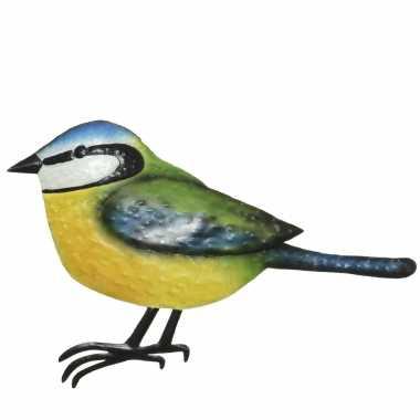 Decoratie vogel/muurvogel pimpelmees tuin beeldje kopen