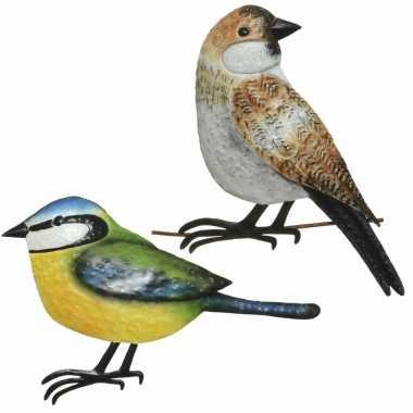 Decoratie vogels/muurvogels huismus pimpelmees tuin beeldje kopen