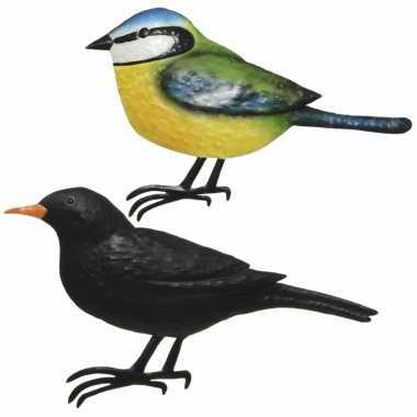 Decoratie vogels/muurvogels merel pimpelmees tuin beeldje kopen