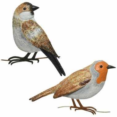 Decoratie vogels/muurvogels roodborstje huismus tuin beeldje kopen