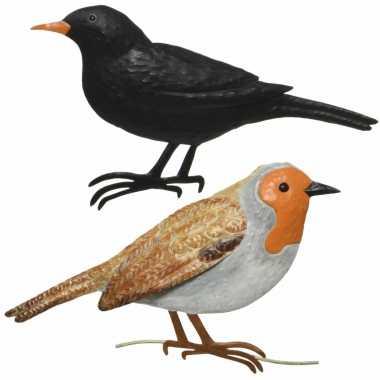 Decoratie vogels/muurvogels roodborstje merel tuin beeldje kopen
