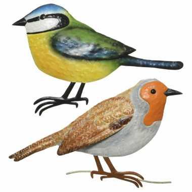 Decoratie vogels/muurvogels roodborstje pimpelmees tuin beeldje kopen