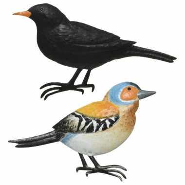 Decoratie vogels/muurvogels vink merel tuin beeldje kopen