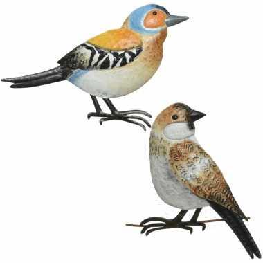 Decoratie vogels/muurvogels vink mus tuin beeldje kopen