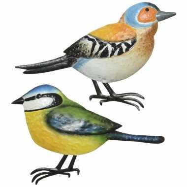 Decoratie vogels/muurvogels vink pimpelmees tuin beeldje kopen