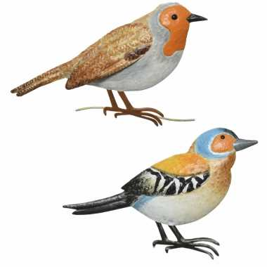 Decoratie vogels/muurvogels vink roodborstje tuin beeldje kopen