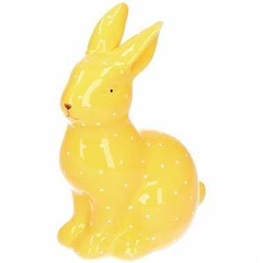 Dieren beeld geel konijntje haasje beeldje kopen 10105317