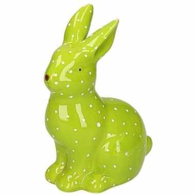 Dieren beeld groen konijntje haasje beeldje kopen 10105319