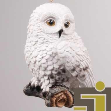 Dieren beeldje sneeuwuil hangertje polystone kopen