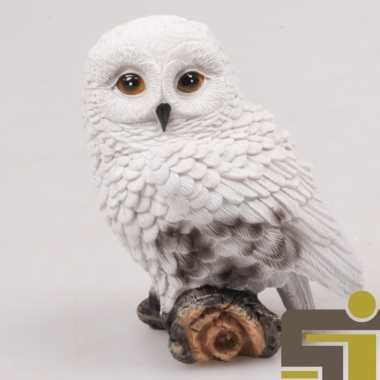 Dieren beeldje sneeuwuil polystone kopen