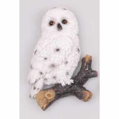 Dieren beeldje sneeuwuilen hangdecoratie polystone kopen