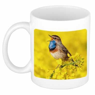 Dieren foto mok blauwborst vogel vogels beker wit ml beeldje kopen