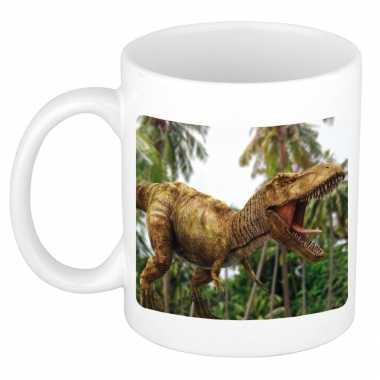 Dieren foto mok brullende t rex dinosaurus tyrannosaurus rex beker wit ml beeldje kopen