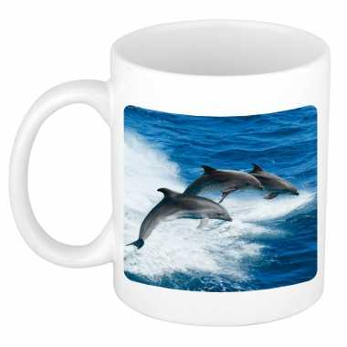 Dieren foto mok dolfijn groep dolfijnen beker wit ml beeldje kopen