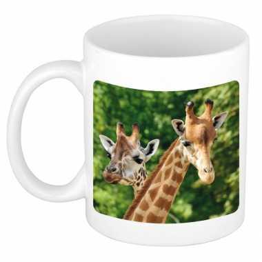 Dieren foto mok giraffe giraffen beker wit ml beeldje kopen