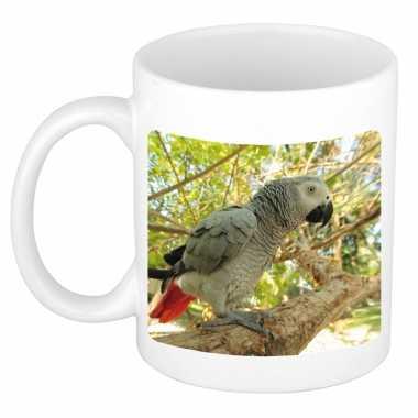 Dieren foto mok grijze roodstaart papegaai papegaaien beker wit ml beeldje kopen