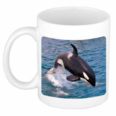 Dieren foto mok grote orka orka walvissen beker wit ml beeldje kopen