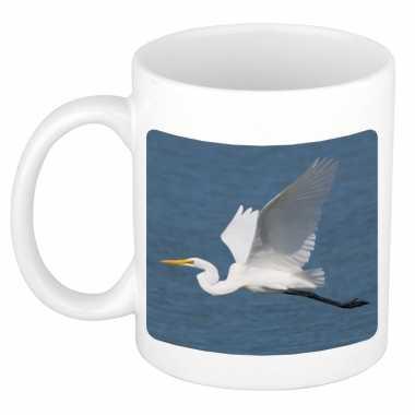 Dieren foto mok grote zilverreiger vogels beker wit ml beeldje kopen