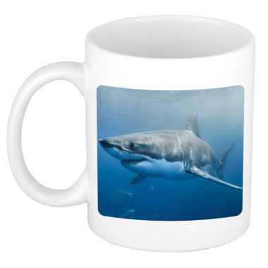 Dieren foto mok haai haaien beker wit ml beeldje kopen
