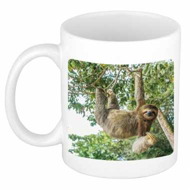 Dieren foto mok hangende luiaard luiaarden beker wit ml beeldje kopen