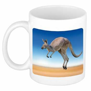 Dieren foto mok kangoeroe kangoeroes beker wit ml beeldje kopen