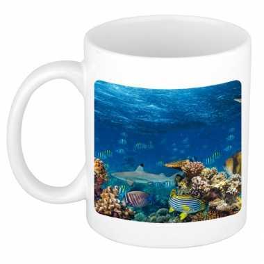 Dieren foto mok koraalrif vissen haai beker wit ml beeldje kopen