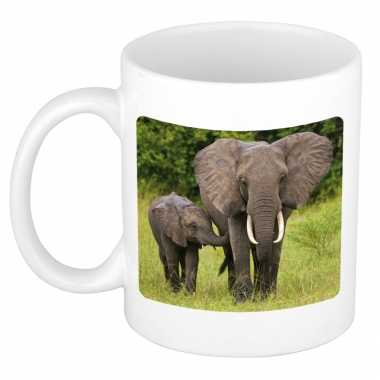 Dieren foto mok olifant olifanten beker wit ml beeldje kopen