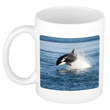 Dieren foto mok orka orka vissen beker wit ml beeldje kopen