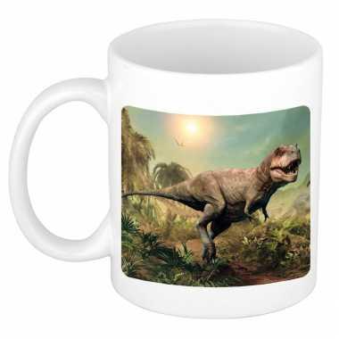 Dieren foto mok stoere t rex dinosaurus dinosaurussen beker wit ml beeldje kopen
