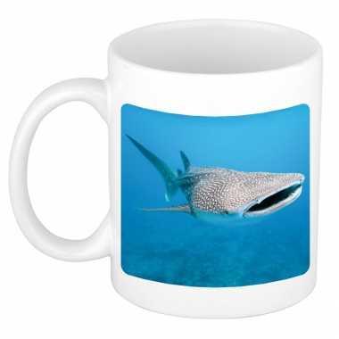 Dieren foto mok walvishaai haaien beker wit ml beeldje kopen