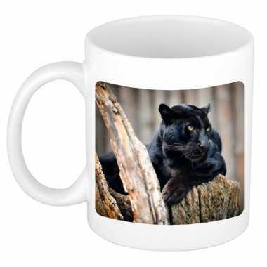 Dieren foto mok zwarte panter panters beker wit ml beeldje kopen