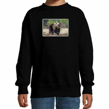 Dieren sweater / trui beren foto zwart kinderen beeldje kopen