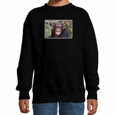 Dieren sweater / trui chimpansee apen foto zwart kinderen beeldje kopen