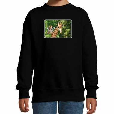 Dieren sweater / trui giraffen foto zwart kinderen beeldje kopen