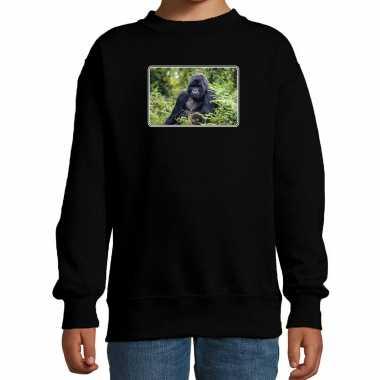 Dieren sweater / trui gorilla apen foto zwart kinderen beeldje kopen