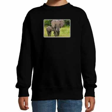 Dieren sweater / trui olifanten foto zwart kinderen beeldje kopen