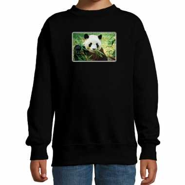 Dieren sweater / trui pandaberen foto zwart kinderen beeldje kopen