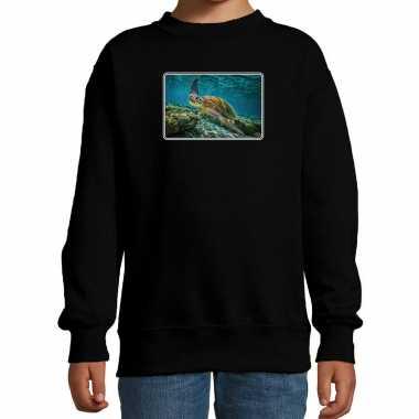 Dieren sweater / trui schildpadden foto zwart kinderen beeldje kopen